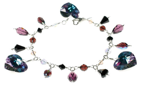 Crystal heart charm bracelet made with Swarovski and sterling silver