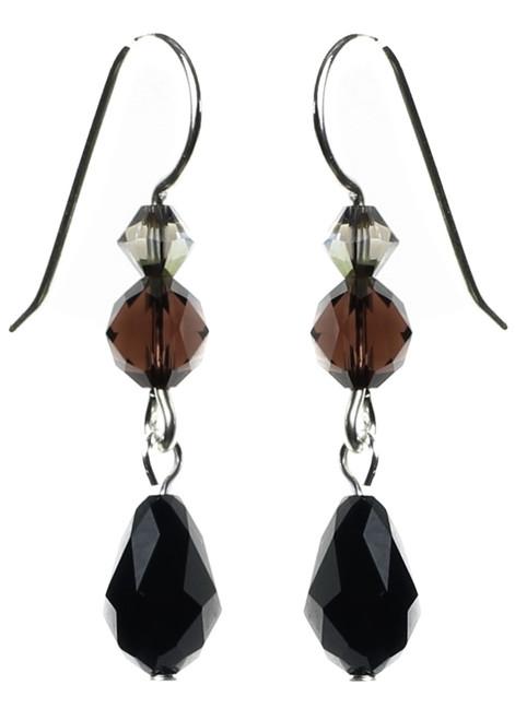 Black crystal earrings on sterling silver