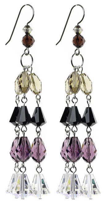 purple, black and clear fancy chandelier earrings