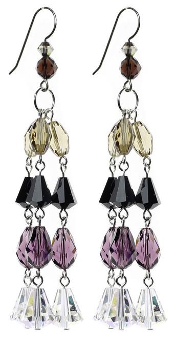 purple, black and clear fancy chandelier earrings