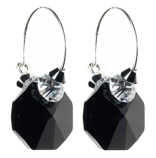 Black crystal hoop style earrings