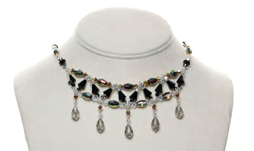 Beautiful crystal necklace with Swarovski droplets on fine metal