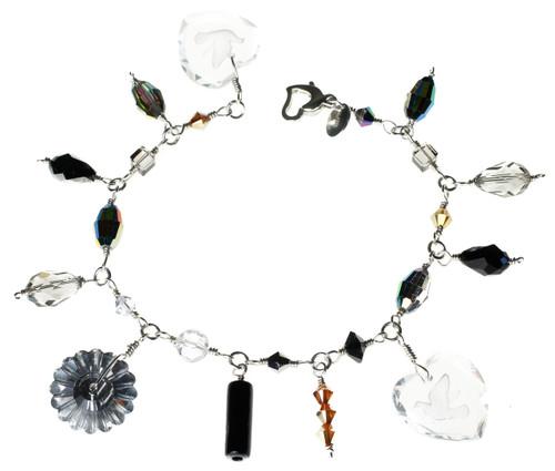 Sterling Silver Swarovski Crystal Charm Bracelet - Masquerade