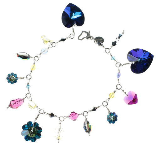 Colorful crystal charm bracelet made with rare Swarovski and sterling silver