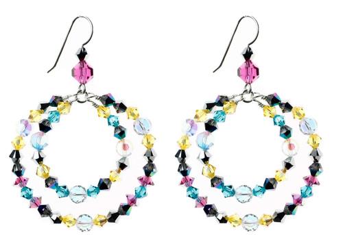 Bright, colorful and fun crystal hoop earrings