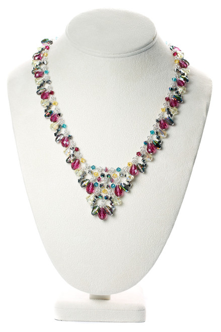 Elegant evening necklace made with rare Swarovski and fine metal