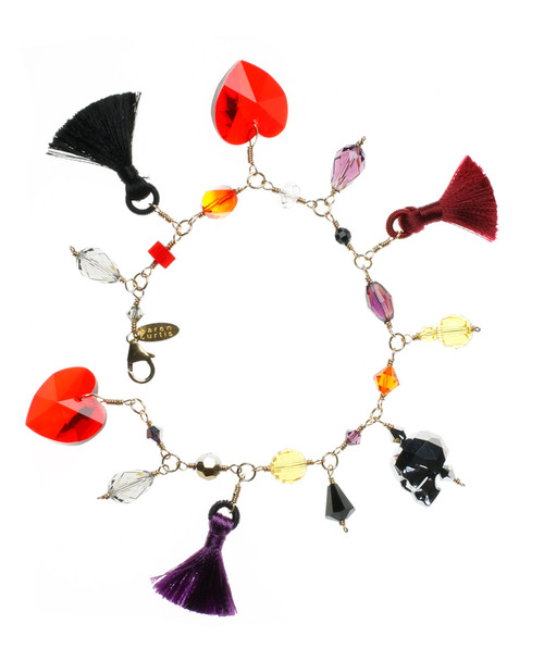 Limited Edition 14K Gold Filled Hand Wire Wrapped Swarovski Crystal Charm bracelet - fire collection