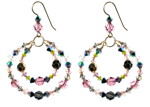 14K Gold Filled Swarovski Crystal Double Hoop Earrings - Northern Lights