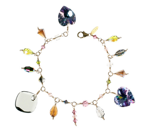14K Gold Filled Swarovski Crystal Charm Bracelet - Northern Lights
