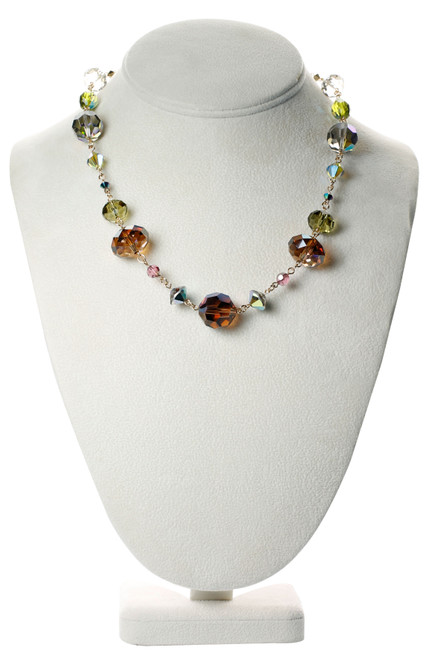 14K Gold Filled Swarovski Crystal Chunky Necklace - Northern Lights
