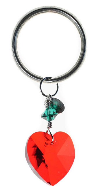 Sterling Silver & Swarovski Crystal Heart Christmas Key Ring/Bag Charm - Red & Green