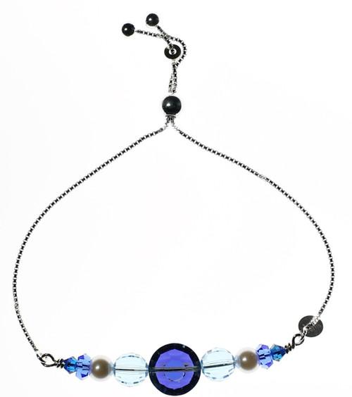 Sterling Silver Swarovski Crystal Adjustable Slider Sapphire Blue Bracelet