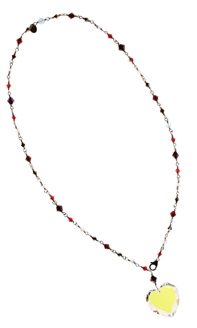 Red Crystal Heart Pendant Necklace - Red Jewelry