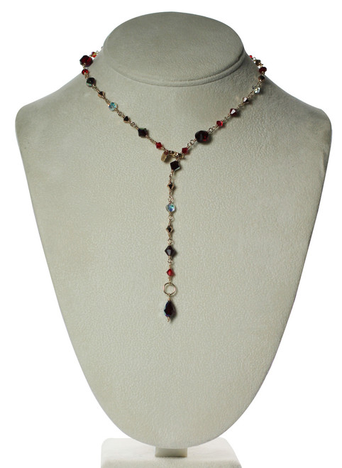 Handmade Swarovski crystal and gold red crystal necklace