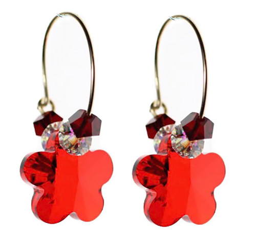 Siam Red Hoop Earrings. Valentines Day Crystal Jewelry.