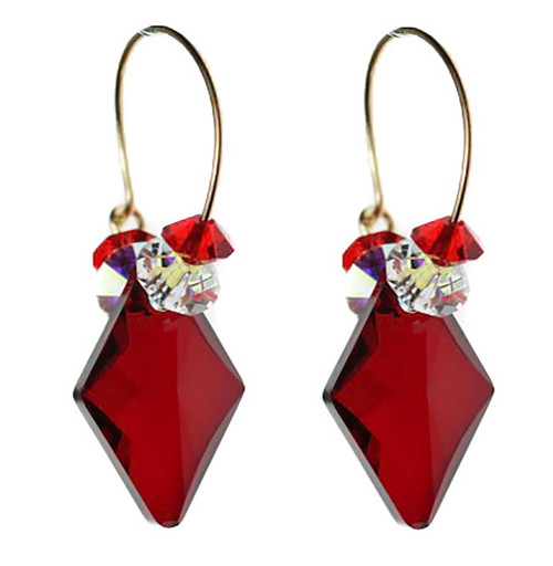 Red Crystal Hoop Earrings made with Diamond shaped Swarovski and 14K gold filled ear wire.