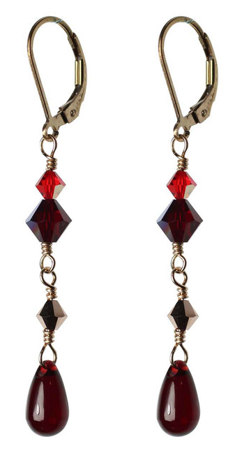 Rich red crystal earrings made with Swarovski and 14k gold filled