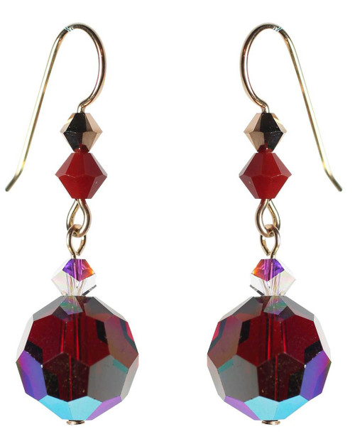Bright red crystal earrings on 14kgf