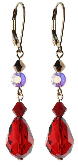 red crystal earrings made with Swarovski crystal