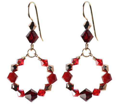 Beautiful Red Swarovski Crystal Loop Earrings.