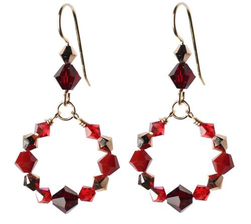 Beautiful Red Swarovski Crystal Loop Earrings.