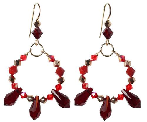 Red crystal spiked loop earrings. Swarovski, 14K gold filled, handmade.