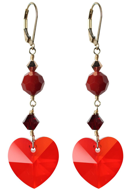 Heart dangle earrings made with red Swarovski crystal and 14K gold filled