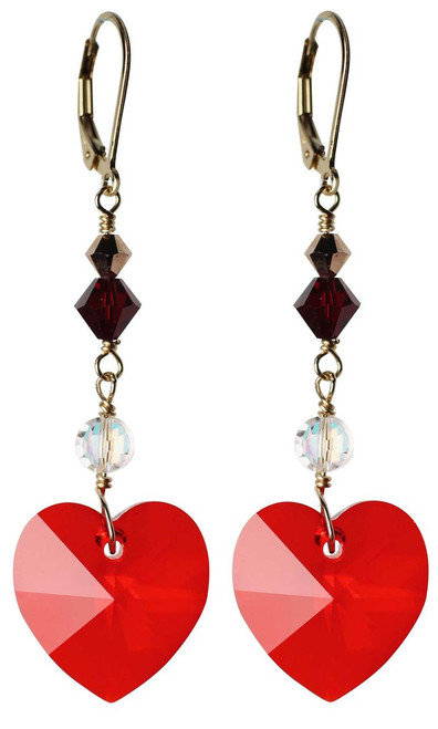 Red & Crystal AB Heart Earrings - Red Jewelry