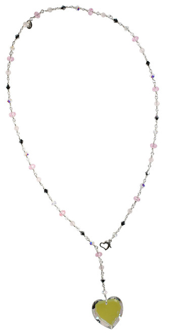 Glacier Blue Crystal Heart Necklace - Pink and Silver