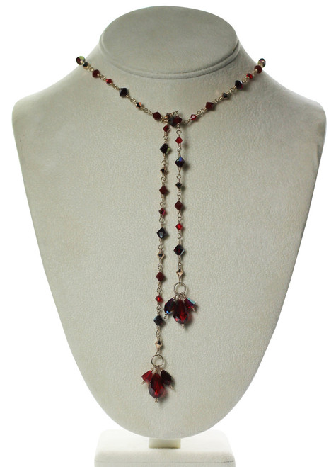 Tie Lariat Necklace - Crystals from Swarovski - Red Jewelry