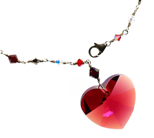 Heart necklace for valentines day. Made with Swarovski crystal and fine metal