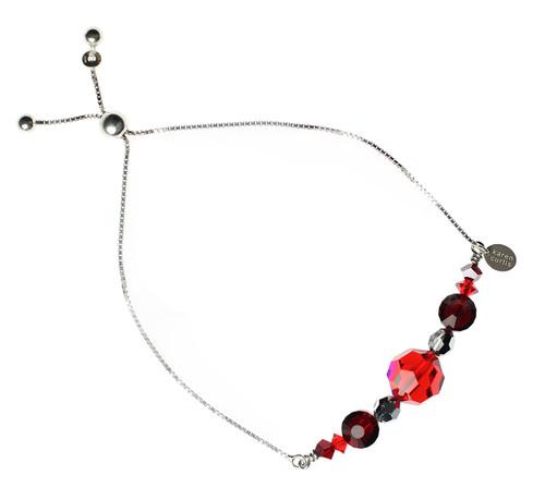 Red Crystal & Sterling Silver Slider Bracelet - #RedJewelry