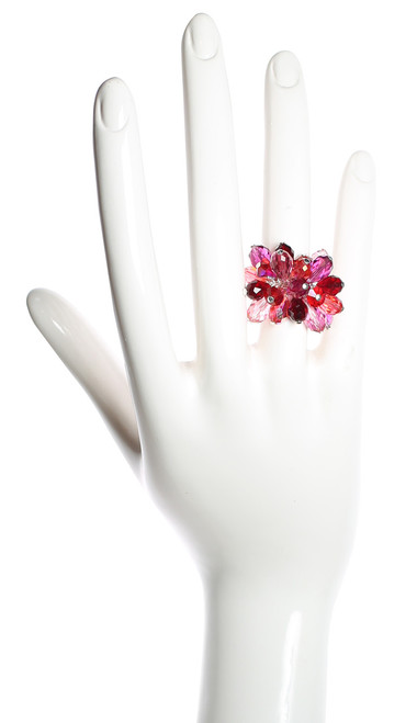 Crystal Cocktail Ring • Sterling Silver • Crystals from Swarovski • Shades of Red
