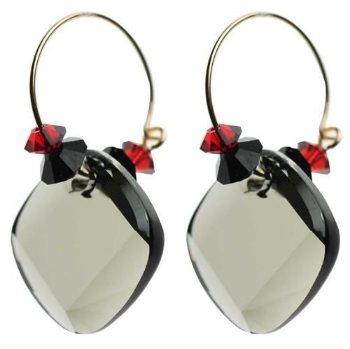 """Grey, red and black Swarovski crystal hoop earrings. 1.5"""" long - 14K gold filled metal"""