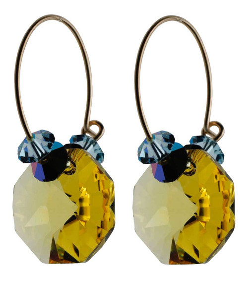 Yellow topaz crystal earrings - 14K gold filled metal