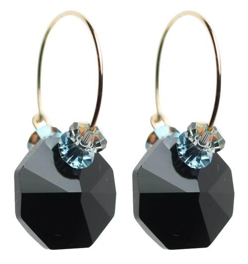 Black Swarovski crystal hoop earrings - 14K gold filled metal