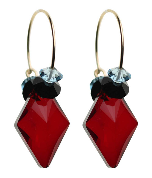 Red crystal hoop earrings with diamond shaped Siam red beads