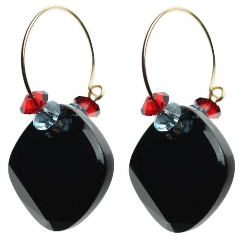 Jet black Swarovski crystal hoop earrings with 14K gold filled ear wire