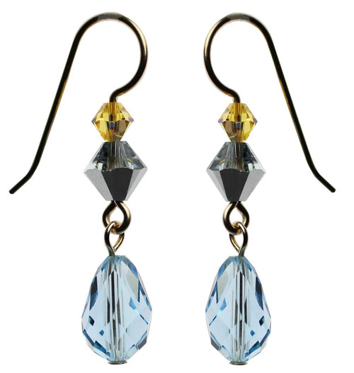 Aqua blue Swarovski crystal dangle earrings - 14K gold filled metal