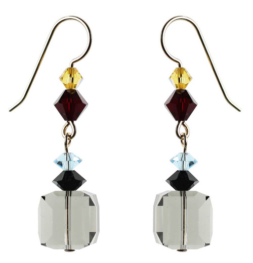 Grey cube crystal earrings with rare Swarovski - 14K gold filled metal