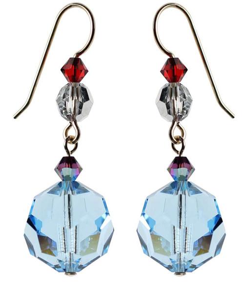Vintage 1950's Swarovski aqua blue earrings - 14K gold filled metal