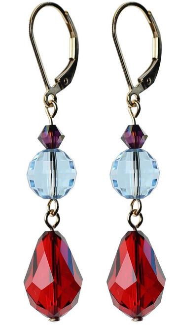Red Crystal Earrings - 14K gold filled meta