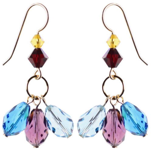 Blue and Purple crystal earrings - 14K gold filled metal