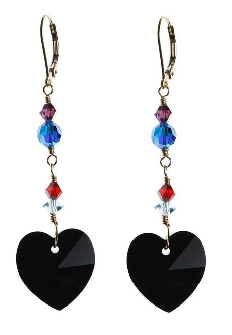 black heart crystal earrings - 14K gold filled metal