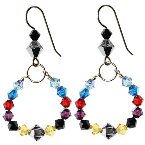 Round multi colored Swarovski crystal earrings - 14K gold filled metal