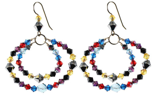 Multicolored Earrings with blue,black,yellow and red - 14K gold filled metal