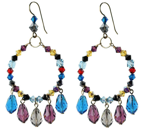 Multicolored crystal hoop earrings with teardrop dangles - 14K gold filled metal