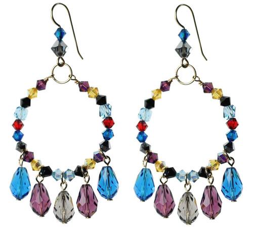 Multicolored crystal hoop earrings with teardrop dangles - 14K gold filled metal