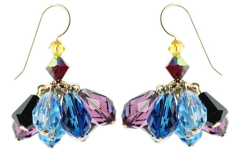 Mini chandelier earrings - Blue,purple and black Swarovski crystal