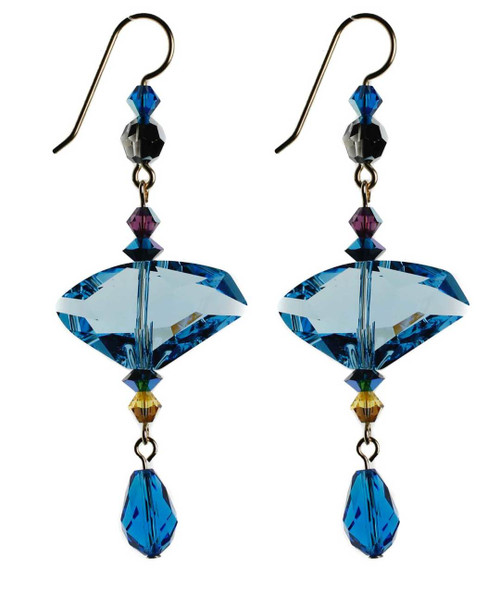 Modern Swarovski crystal earrings with Aqua blue center - 14K gold filled metal